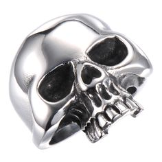 Biker Style Deadly Thrill Large Skull Mens Silver Steel Ring Bad Ass Collection -