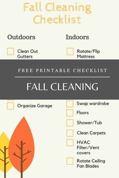 We all think of spring when we think of cleaning, but don't forget what needs to be cleaned in the fall! Use this free printable cleaning checklist to tidy up your outdoor and indoor spaces this year. Fall Cleaning Checklist, Cleaning Hacks, Hvac Filters, Ceiling Fan Blades, Vent Covers, Tidy Up, Garage Organization, How To Clean Carpet, When Us