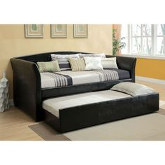 Twin size Modern Black Faux Leather Daybed with Trundle