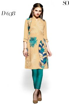 Designer party wear reyon golden kurti with embroidery work 638