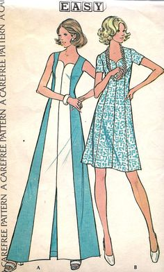 1970s Misses Princess Cut Dress in Two Lengths