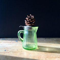 Vintage Hocking Pitcher Uranium Glass Syrup Pitcher
