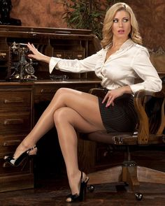 Short Black Pencil Skirt Ivory Satin Blouse Sheer Pantyhose and Black Strappy Stiletto High Heels