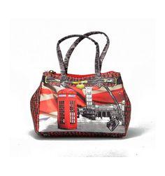 Fin lille micro taske med motiv fra London - med lang rem