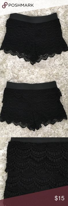 Black Crochet Shorts very cute and comfy crochet shorts! top has an elastic band. worn before but in great condition with no flaws! size 26 waist. Forever 21 Shorts