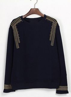 To find out about the Black Long Sleeve Navy Embroidery Sweatshirt at SHEIN, part of our latest Sweatshirts ready to shop online today! Fashion Details, Diy Fashion, Belle Silhouette, Do It Yourself Fashion, Embroidered Sweatshirts, Mode Inspiration, Diy Clothes, Knitwear, Style Me