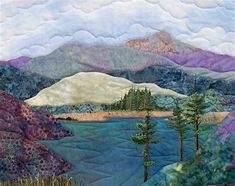Landscape Quilts 1 Exclusive Art Quilt Patterns 206 On The Lake NOTICE quilting pattern on lake for depth. Patchwork Quilting, Applique Quilts, Art Quilting, Quilt Art, Quilting Fabric, Colchas Country, Landscape Art Quilts, Watercolor Landscape, Landscape Paintings