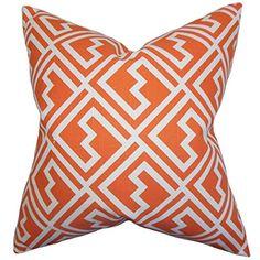 The Pillow Collection Ragnhild Geometric Pillow, Tangerine