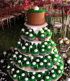 Cupcake golf themed wedding favors.  See more golf wedding favor ideas at one-stop-party-ideas.com