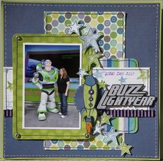 Buzz Lightyear Disney scrapbook page This layout could be used for a ton of… Ideas Scrapbook, Vacation Scrapbook, Disney Scrapbook Pages, Scrapbook Page Layouts, Scrapbook Paper Crafts, Scrapbook Supplies, Scrapbook Cards, Scrapbooking Ideas, Scrapbook Sketches