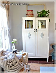 Pretty painted Ikea cabinet transformation with Chalk Paint™ paint for furniture. Town and Country Living: Ikea Cabinet Meets Annie Sloan