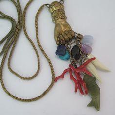 Vtg Victorian Revival Figa Hand Branch Coral Charm Glass Dangle Pendant Necklace