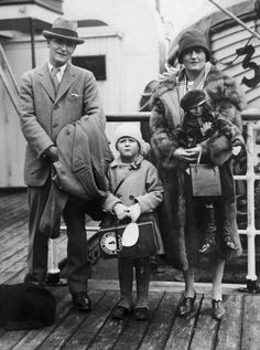 "artdecoandmodernist:  "" F. Scott Fitzgerald, Scotty Fitzgerald and Zelda Fitzgerald, 1925.  Around 1925, the American novelist Francis Scott Fitzgerald, his wife Zelda Sayre and their daughter Scotty posed on board a liner during one of their many..."