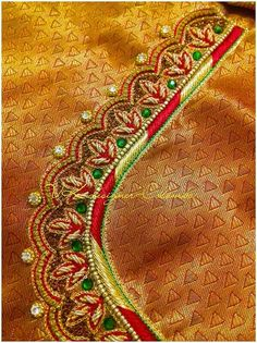Hand Work Blouse Design, Kids Blouse Designs, Simple Blouse Designs, Silk Saree Blouse Designs, Bridal Blouse Designs, Blouse Neck Designs, Simple Embroidery, Hand Embroidery Designs, Half Saree Designs