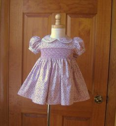 Baby girl smocked dress violet and pink by ForTheLoveOfSmocking, $48.00