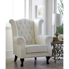 Parents retreat in the bedroom. White Dining Room Chairs, Scandinavian Dining Chairs, Upholstered Dining Chairs, Cottage Living Rooms, Living Room Sofa, Living Room Furniture, Romantic Living Room, Elegant Living Room, Bedroom Reading Chair