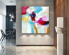 Extra Large Wall Art Original Art Bright Abstract Original Painting On Canvas Extra Large Artwork Contemporary Art Modern Home Decor Large Abstract Wall Art, Large Artwork, Extra Large Wall Art, Canvas Wall Art, Abstract Paintings, Canvas Paintings, Bathroom Paintings, Abstract Canvas, Hallway Art