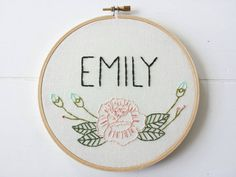 Custom Name Embroidery Hoop Art, Floral Rose Art, Hand Stitched Name, Embroidered Name, Gift For Her