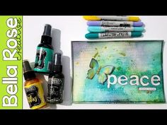 Letter Masking + Dylusions Sprays + Distress Crayons - Mixed Media Art Journal - YouTube