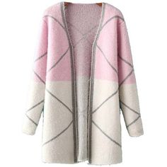 Chicnova Fashion Color Block Coat ($22) ❤ liked on Polyvore featuring outerwear, coats, jackets, color block coat, pink coat, colorblock coat and knit coat