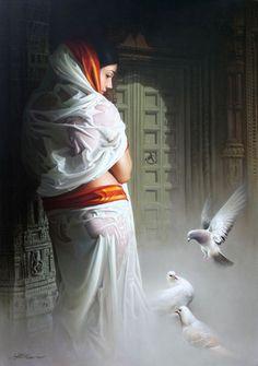 Artist Amit Bhar (Indian Artist) - Art And Beauty Indian Women Painting, Indian Art Paintings, Indian Artist, Fantasy Paintings, Face Paintings, Fantasy Art, Sexy Painting, Woman Painting, Artist Painting