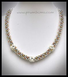 Mixed metals and pearls kumihimo necklace by Pru McRae