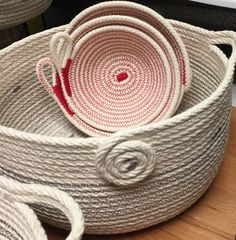Coiled rope bowls, rope art by Andrea