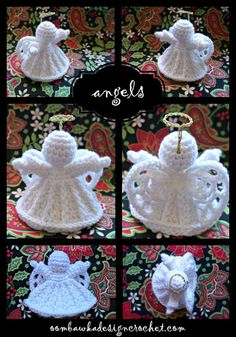 Crochet Angel Pattern #1 - Angel Ornament - designed by Oombawka Design. Designed using Red Heart Super Saver Yarn and a 4.0 mm hook, this lovely Angel does not require blocking starch / stiffening.