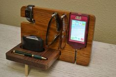 iPhone Dock, iPhone Stand, Watch, Valet, Pen and Eye Glasses Holder – iPhone 4, 4s, 5, 5s, 5c, or Smart phone on Etsy, $45.00
