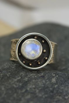 Moonstone Constellation Ring with Reticulated Silver. $200.00, via Etsy.