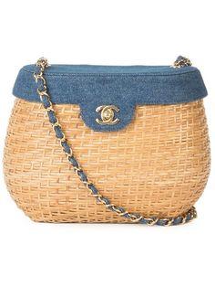 Shop Chanel Vintage denim basket crossbody bag.