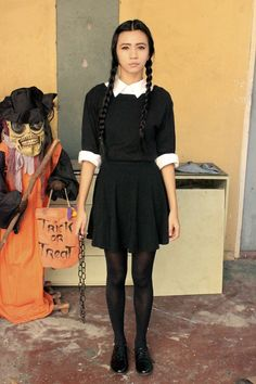 DIY Wednesday Addams costume by Lyndsay Picardal Inexpensive Halloween Costumes, Tv Show Halloween Costumes, Cute Costumes, Halloween Kostüm, Family Halloween, Halloween Outfits, Work Appropriate Halloween Costumes, Costume Ideas, Wednesday Adams Kostüm