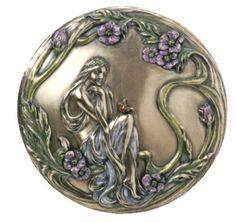 Art Nouveau silver compact with purple flowers lady