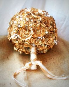SALE!!! This week only 30% off!!!! (9/30-10/5) Sepia tones,vintage sheet music flower bridal bouquet. Round with pearls