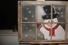 Vintage Window hand painted Snowman - $75 (Rocky Mount)