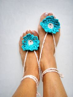 Anklets Jewelry Foot Hippy Chic Turquoise Barefoot by nerina52, $20.00