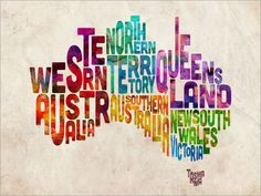 Typography Text Australia Map Art Print - artPause via Etsy
