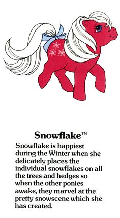 My Little Pony Snowflake fact file ...