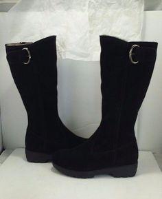 cdf7abff088 La Canadienne Vale Women s Waterproof Black Suede Shearling Knee High Boots  6.5  LaCanadienne  KneeHighBootsWaterproofShortHeelSideZip