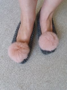 Knit Slippers, Grey Slippers, Slippers with real fur pompom, Indoor Shoes, Ballet Shoes, Women Knit Socks, Knit Socks, Wool Knit Socks by DandelionWoolDesign on Etsy