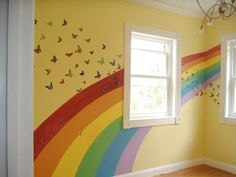 rainbow butterfly wall mural Lay asked for a rainbow wall.With a purple base color? (But, I love the yellow) Rainbow Bedroom, Rainbow Nursery, Rainbow Room Kids, Hm Deco, Rainbow Butterfly, Butterfly Wall, Little Girl Rooms, New Room, Wall Murals