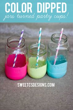 color dipped jars turned party cups- save your old jars and create a fun colorful display at your next party!