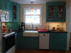 Periwinkle, Kitchen Cabinets, Cottage, Home Decor, Small Kitchens, Decorating Kitchen, Periwinkle Blue, Decoration Home, Room Decor