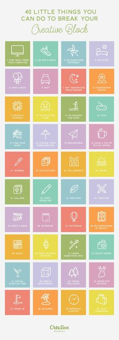 40 Things You Can Do To Break Your Creative Block #infographic