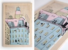 Hand painted acrylic and ink on wood or paper of the New York building of your choice. By illustrator James Gulliver Hancock.