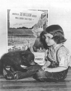 Judy Bell and the real Smokey Bear, the tiny five-pound black bear cub rescued from the May 4th, 1950 forest fire. It began when a cook stove over heated, casting sparks which were fanned by winds in the Capitan Mountains of New Mexico