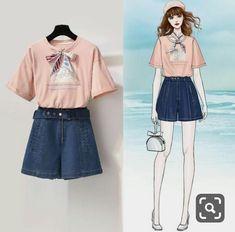 Kpop Fashion Outfits, Girls Fashion Clothes, Korean Outfits, Stylish Outfits, Girl Outfits, Fashion Drawing Dresses, Fashion Illustration Dresses, Kawaii Fashion, Cute Fashion