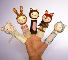 finger puppets, miniature paper clay character by Flor Panichelli
