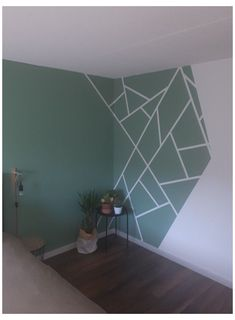 Geometric Wall Paint, Wall Paint Patterns, Wall Painting Decor, Bedroom Wall Designs, Bedroom Ideas, Home Room Design, Kitchen Design, Room Paint, Room Colors