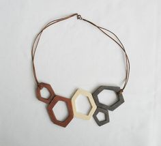 grey brown wooden necklace  large by OtinyuO on Etsy